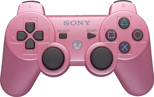 A pink PS3 controller! I like to use the same one every time I play but we always get the ones we have confused because they're both black.