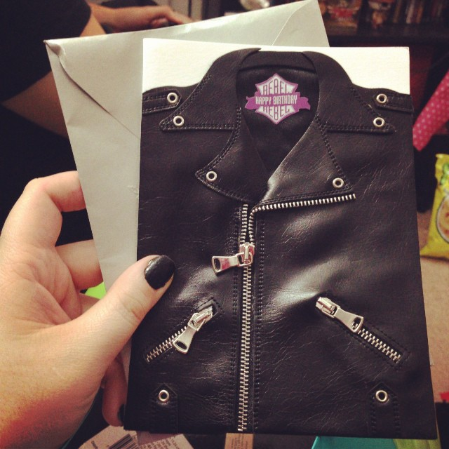 The front of my leather jacket card!