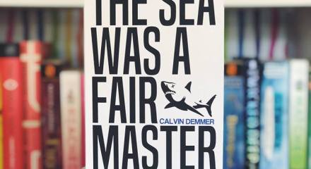 The Sea Was A Fair Master book cover in front of bookshelves organized by color in a rainbow gradient