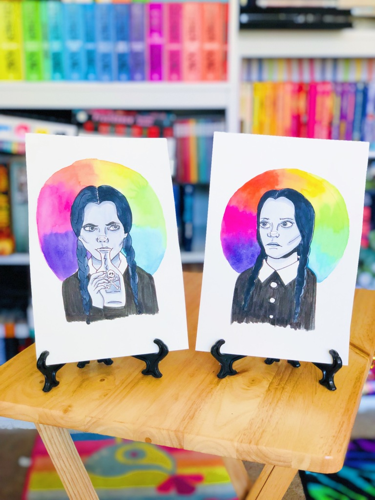Rainbow watercolor portrait of Wednesday Addams from The Addams Family