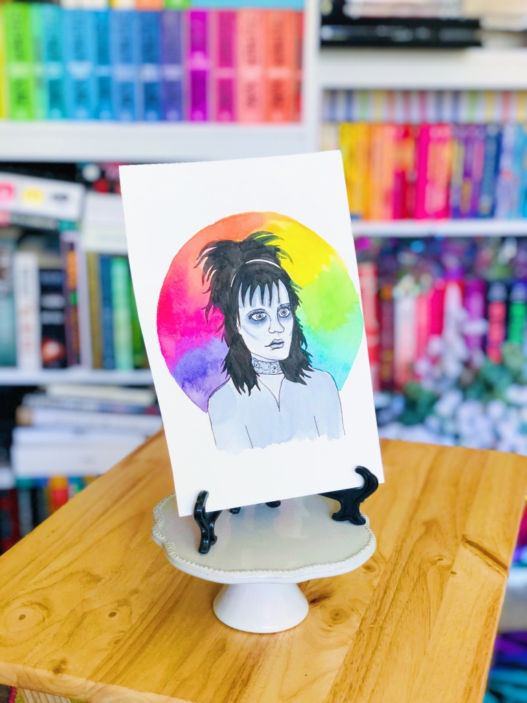 Rainbow watercolor portrait of Lydia Deetz from Beetlejuice