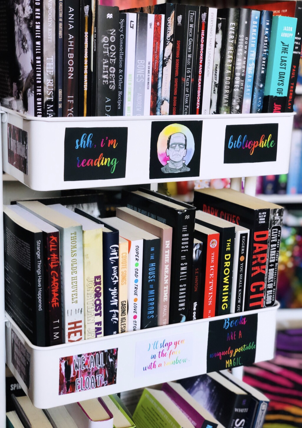 Rolling book cart with books