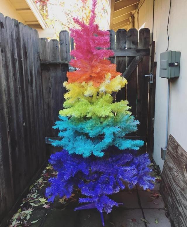 DIY Rainbow Christmas Tree After Spray Painting