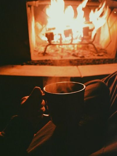 Hot Cocoa Next to a Fire