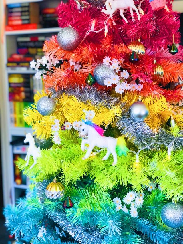 DIY Rainbow Christmas Tree with Unicorn Ornaments
