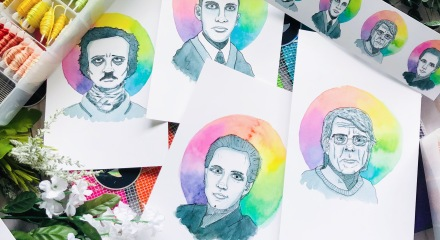 Stephen King, Edgar Allan Poe, Lovecraft, Clive Barker portraits