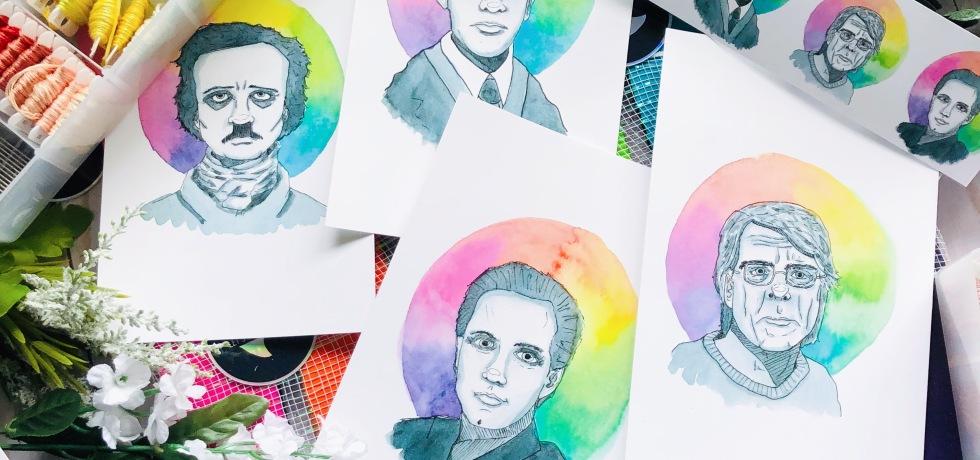 Stephen King, Edgar Allan Poe, Lovecraft, Clive Barker portraits