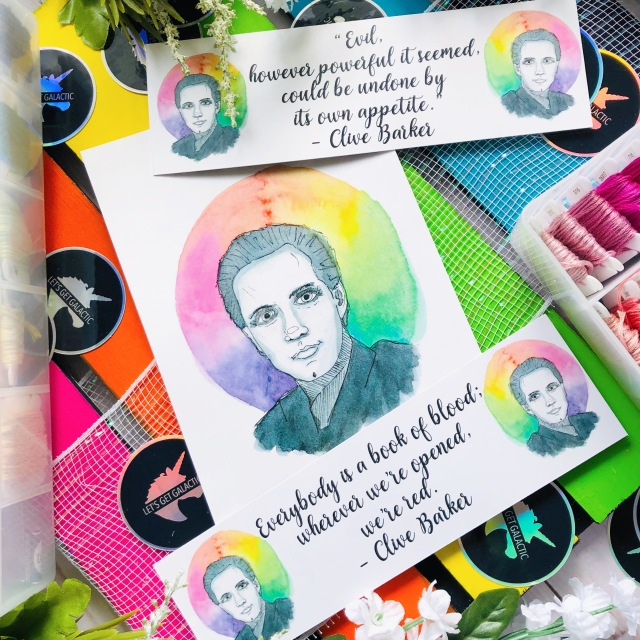 Clive Barker Watercolor Portrait on bookmarks and art prints