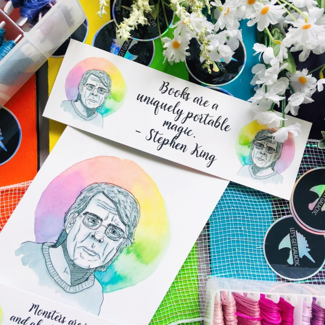 Stephen King Watercolor Portrait on Art Print and Bookmarks