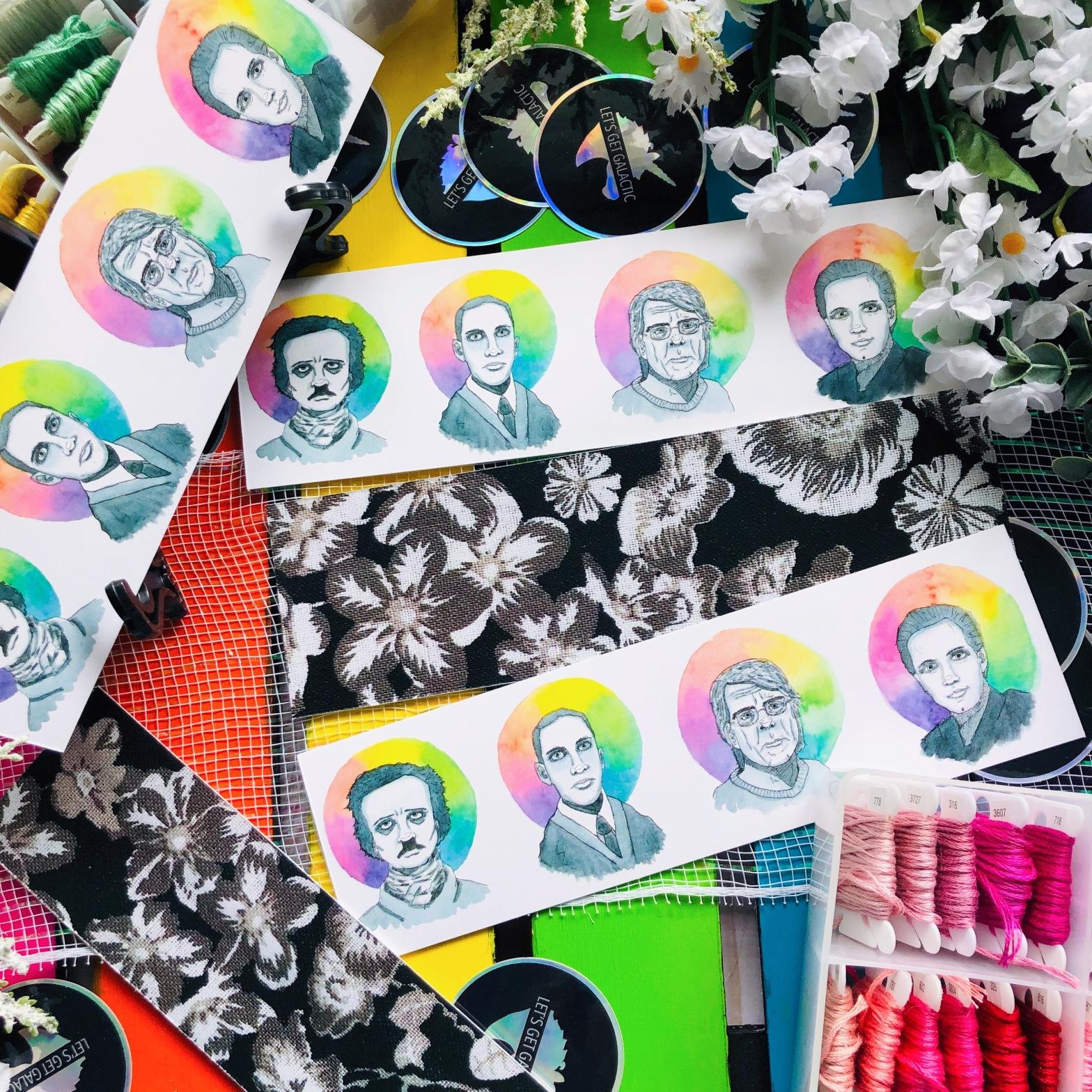Stephen King, Edgar Allan Poe, Lovecraft, Clive Barker portraits on bookmarks