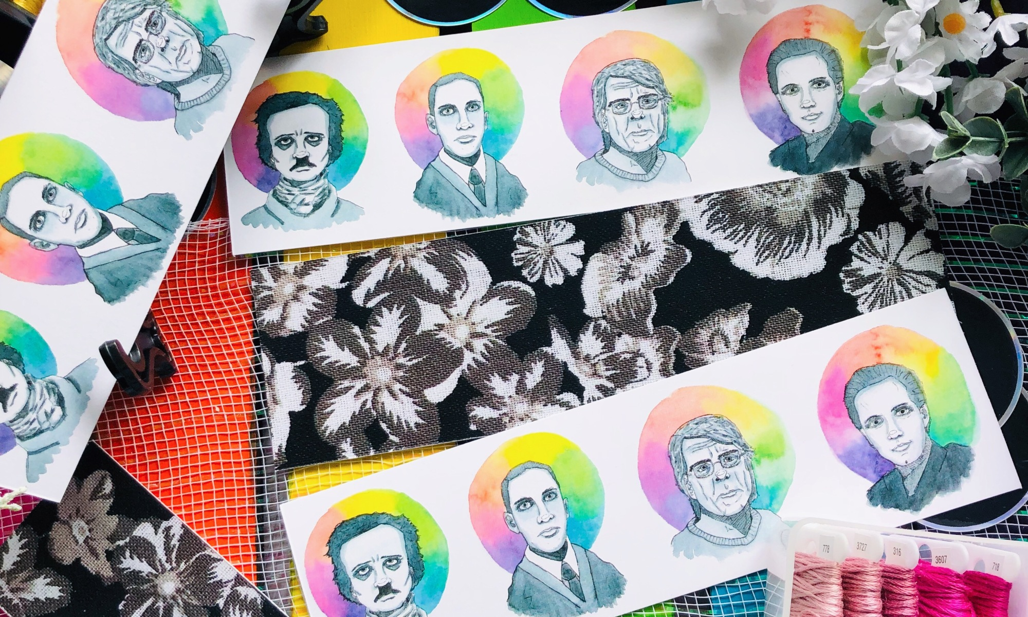 Stephen King, Edgar Allan Poe, Lovecraft, Clive Barker portraits on bookmarks
