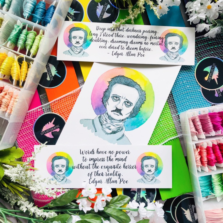 Edgar Allan Poe Watercolor Bookmarks and Art Prints