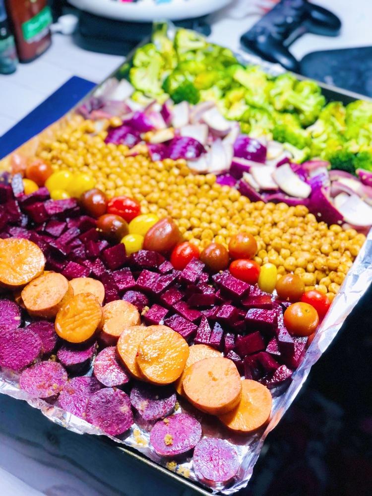 Roasted harvest vegetables on a pan