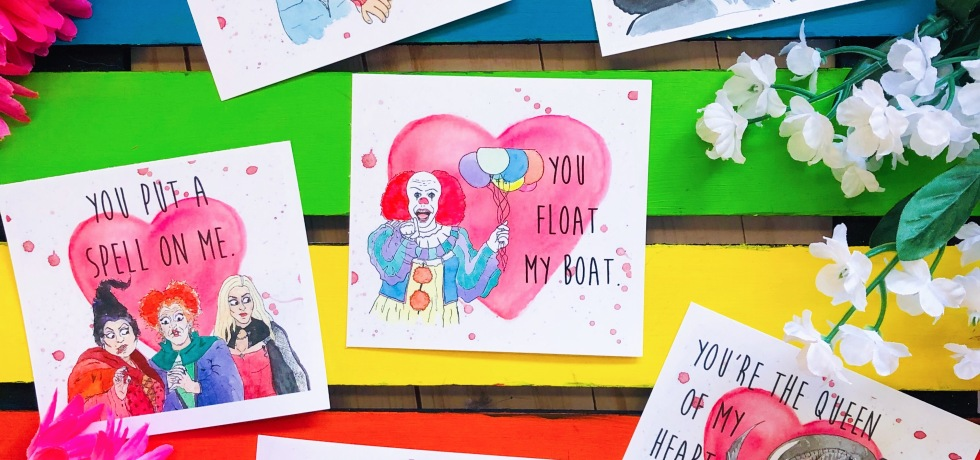 Horror Lovers Valentine's Day Cards - Xenomorph, Freddy Kruger, Pennywise, Hocus Pocus, Frankenstein and Bride, Chucky from Child's Play